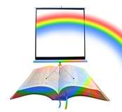 Tela do projetor da Bíblia do arco-íris fotografia de stock