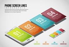 A tela do telefone alinha Infographic Imagem de Stock