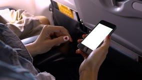 Tela do telefone celular do toque e da corrediça no avião ou nos aviões, b Imagens de Stock