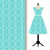 Tela do vestido das mulheres com teste padrão azul ilustração do vetor