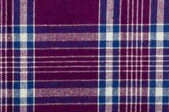 Tela escocesa azul, púrpura y blanca Fotos de archivo libres de regalías