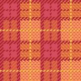 Tela escocesa del pixel en naranja y rosa Fotografía de archivo