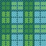 Tela escocesa del pixel en verde y azul Foto de archivo libre de regalías