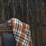 Tela escocesa en silla Imagen de archivo libre de regalías