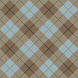 Tela escocesa Pattern_Brown-Blue de 45 grados Imagenes de archivo