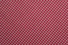 Tela escocesa roja y blanca Fotografía de archivo