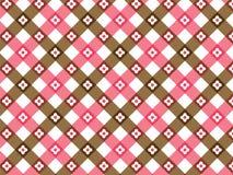 Tela escocesa rosada y marrón de la flor Foto de archivo