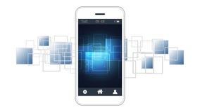 Tela esperta do telefone que mostra a placas de circuito digital o fundo ilustração do vetor