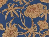 Tela floral del satén azul antiguo Imagenes de archivo
