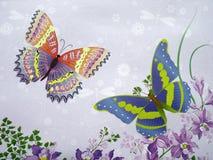 Tela hermosa con las mariposas pintadas fotos de archivo