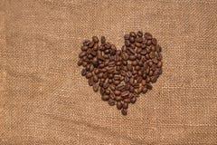 Tela marrom de serapilheira dos feijões de café natural Imagens de Stock