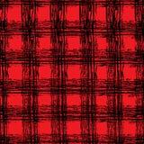 Tela negra y roja clásica del tartán Modelo cuadrado inconsútil dibujado mano Imagen de archivo libre de regalías