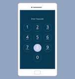 Tela numérica do fechamento da senha de Smartphone, grupo da ilustração do vetor Imagens de Stock Royalty Free