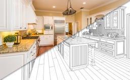 Tela rachada diagonal do desenho e foto da cozinha nova ilustração royalty free