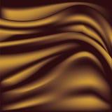 Tela sedosa de oro suave Ondas de la seda Fondo Imagen de archivo