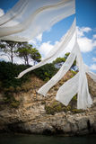 Tela su una spiaggia in Zacinto, Grecia immagine stock libera da diritti