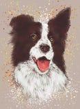 Tela sveglia di applique della stampa del ricamo degli animali, cane, decorazione della parete della stanza dei bambini, stampa d royalty illustrazione gratis