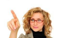 Tela tocante da mulher de negócios Fotos de Stock