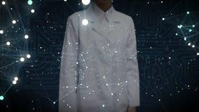 A tela tocante do cientista fêmea, vário ícone da tecnologia dos cuidados médicos conecta o mapa do mundo global, pontos faz o ma ilustração royalty free