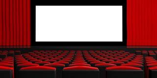 Tela vazia do teatro com cortinas, cadeiras vazias, espaço para o texto ilustração 3D Foto de Stock