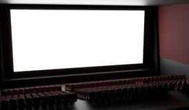 Tela vazia no salão vazio do cinema 3D rendeu a ilustração Fotografia de Stock