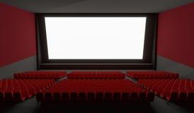 Tela vazia no salão vazio do cinema 3D rendeu a ilustração Imagens de Stock