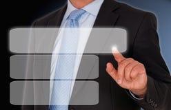 Tela vazia tocante do homem de negócios foto de stock royalty free