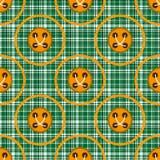 Tela verde quadriculado com círculos e os botões alaranjados ilustração do vetor