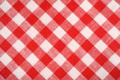 Tela vermelha e branca da manta Quadriculado vermelho de linho Fundo e textura Imagem de Stock Royalty Free