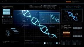 Tela virtual com molécula do ADN ilustração royalty free