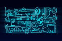 Tela virtual do painel com a tecnologia digital dos dados alta - tecnologia ilustração stock