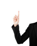 Tela virtual tocante da mão da mulher de negócio. Isolado no branco. Foto de Stock