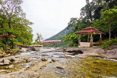 Telaga Tujuh瀑布, Pulau凌家卫岛,吉打,马来西亚 图库摄影