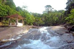Telaga Tujuh Waterfalls in Langkawi. Telaga Tujuh Waterfalls is billed as the island's most wonderful natural attraction. Set on Langkawi's western stock photo
