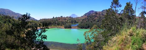 Telaga Warna in Dieng Wonosobo, Indonesia. Telaga Warna is a tourist attraction located in the Dieng Plateau, Wonosobo Regency, Central Java. This sport is one Royalty Free Stock Photo