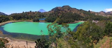 Telaga Warna in Dieng Wonosobo, Indonesia. Telaga Warna is a tourist attraction located in the Dieng Plateau, Wonosobo Regency, Central Java. This sport is one stock images