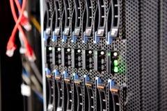 Telaio del server del primo piano del server della lama Fotografia Stock