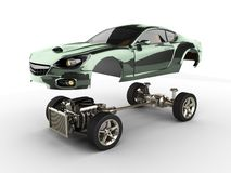 Telaio dell'automobile con il motore di sportcar brandless di lusso Fotografia Stock