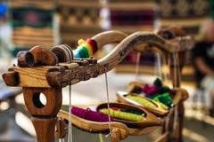 Telaio per tessitura e filo di filato Fotografia Stock