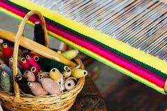 Telaio per tessitura e filo di filato Fotografia Stock Libera da Diritti