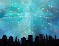 Telares de la cara sobre ciudad ilustración del vector
