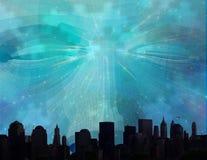 Telares de la cara sobre ciudad libre illustration