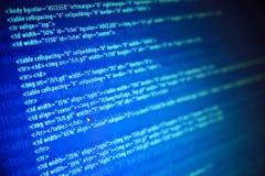 Telas com código e rato do Web do programa Imagens de Stock