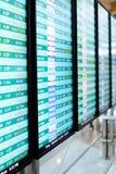 Telas de exposição da informação do voo em um aeroporto Fotografia de Stock