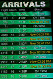 Telas de exposição da informação do voo em um aeroporto Imagem de Stock