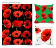 Telas e fundos do papel de parede com teste padrão floral da papoila bonita Foto de Stock Royalty Free