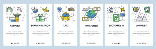 Telas onboarding do app móvel Ícones do curso, aeroporto, táxi, viagem da montanha Molde da bandeira do vetor do menu para o Web  ilustração stock