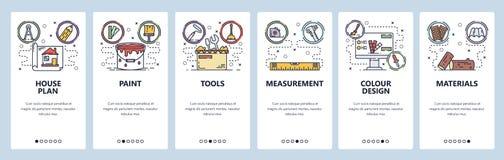 Telas onboarding do app m?vel Construção e construção de casa, reparo da casa, pintura, ferramentas e materiais Vetor do menu ilustração stock