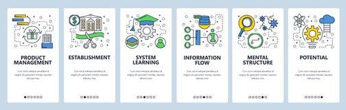 Telas onboarding do site Aprendizagem, informação Molde da bandeira do vetor do menu para o Web site e o desenvolvimento móvel do ilustração stock