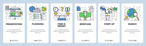 Telas onboarding do site Apresentação e aplanamento do negócio Tempo é dinheiro conceito Molde da bandeira do vetor do menu para foto de stock